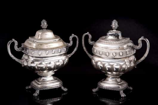 Pair of NY Coin Silver Serving Pots
