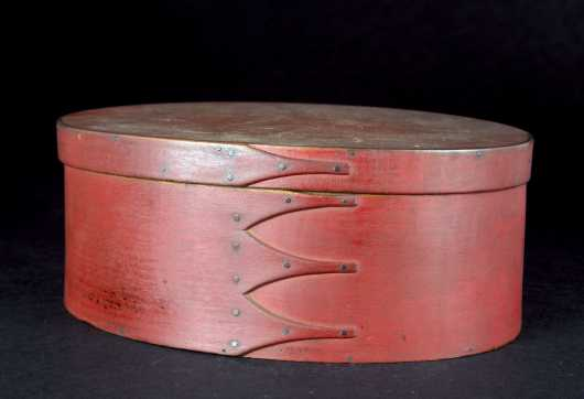 Shaker Four Finger Oval Box in Red Paint
