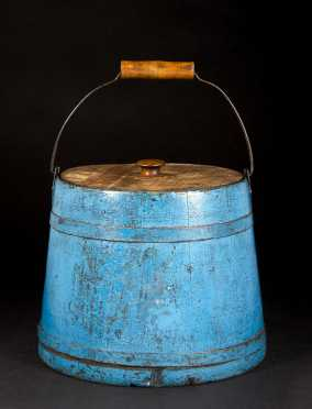 Shaker Blue Painted Covered Pail