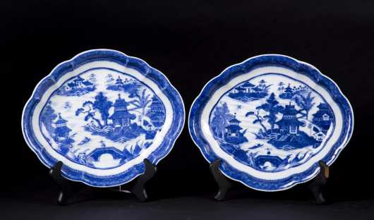 "Pair of Chinese ""Nanking"" Oval Deep Dishes"