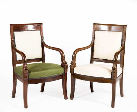 Pair of French Armchairs with Carved Dolphin Arm Supports
