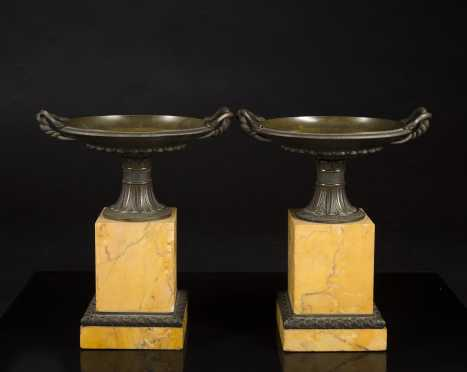 Pair of Bronze and Marble Campana Urns