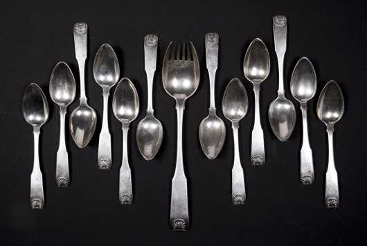 Stodder and Frobisher Set of Twelve Shell Soup Spoons and Serving Fork