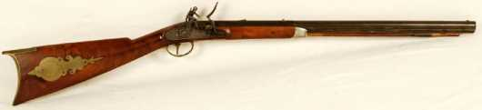 "Child's Flint Lock Rifle, side plate marked ""Ashmore"""