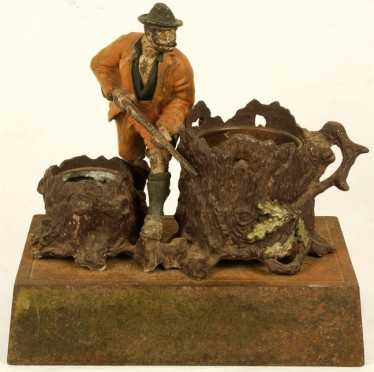 Desk Set. Cold Painted Bronze Group of a hunter