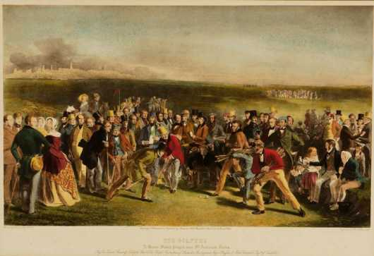 """The Golfers, a grand match played over St. Andrews Links."" Hand colored engraving"