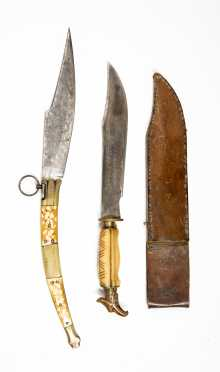 Mexican Clip Point Bowie Knife And Spanish Folder