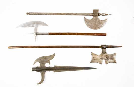 Four Modern Knife, Axe and Trident Reproductions