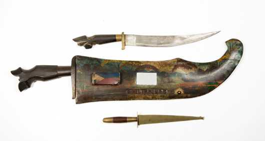 Philippines Decorated Machete Scabbard and Two Fighting Knives