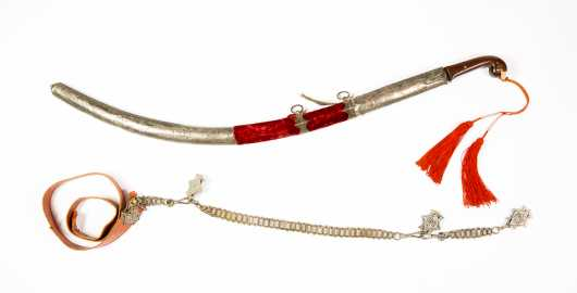 Ornate Persian Or Ottoman Scimitar With Silver Mounted Scabbard