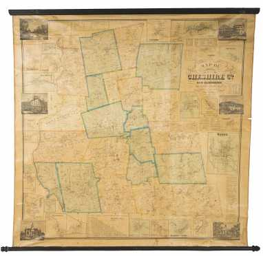 "1858 Roll Down Map ""Cheshire Co, NH"""