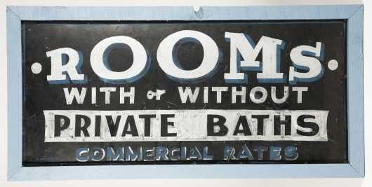 """Rooms With or Without Private Bath"" Advertising Sign"