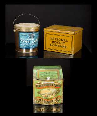 Three Country Store Tin Advertising Canisters/ Counter Dispensers