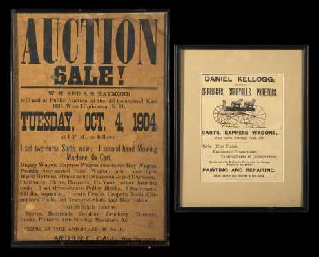 Two Printed Broadsides- Auction and Carriages