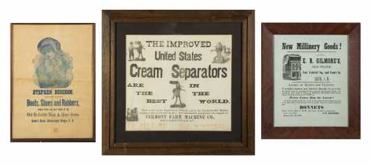 Three Framed Printed Country Store Broadsides