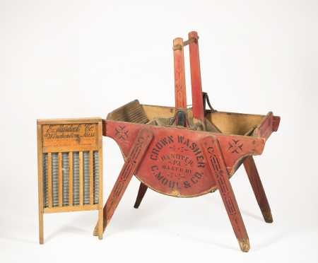 """Crown Washer, C Moul & Co, Hanover PA"" Washtub and ""E Murdock Co."" Washboard"