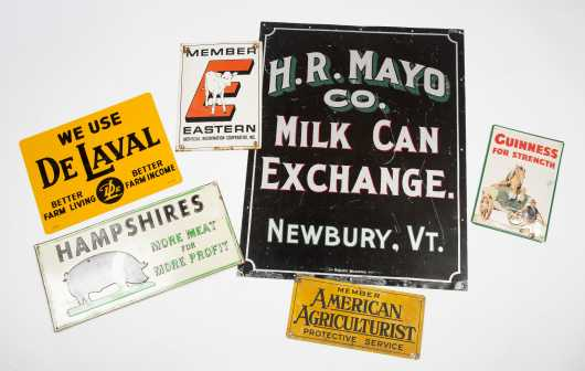 Lot of Six Dairy Farm Tin Advertising Signs