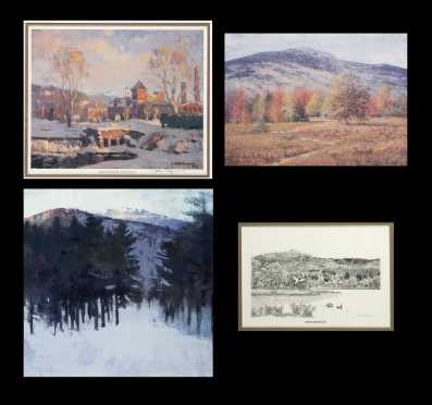 Lot of Four Framed Monadnock Area Prints