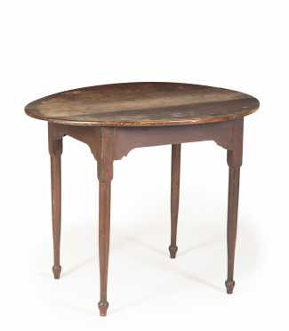 Red Painted Oval Top NH Tea Table