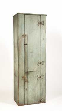 Important Blue Gray Painted Cupboard with Heart Wrought Iron Hinges