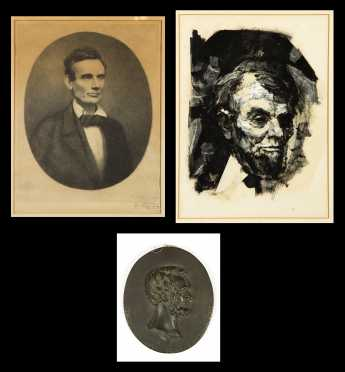 Two Renderings of Abraham Lincoln and One Bronze Plaque