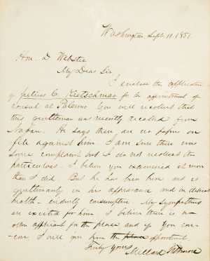 Millard Fillmore, presidential letter to Daniel Webster, 1851