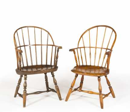 Two Similar Knuckle Arm Windsor Chairs