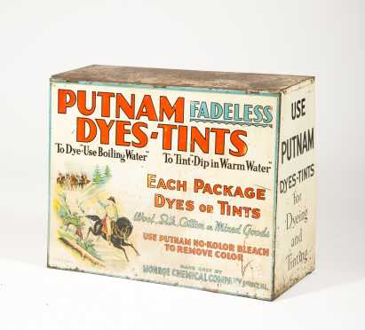 """Putnam Dyes- Tint"" Country Store Countertop Dispenser"