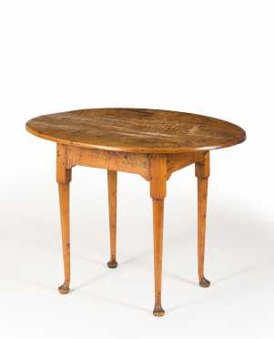 Curly Maple Oval Top Queen Anne Tea Table