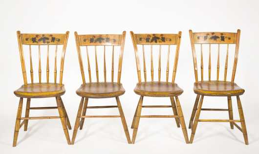 Set of Four Thumb Back Windsor Side Chairs