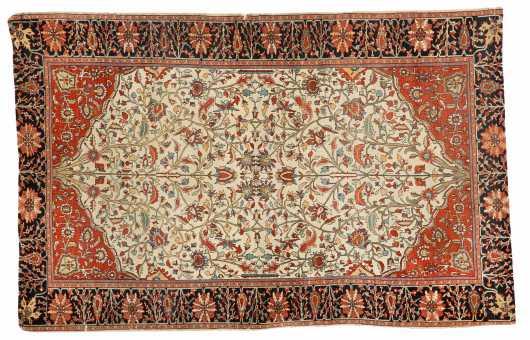 "Tabriz ""Tree of Life"" Scatter Oriental Rug"