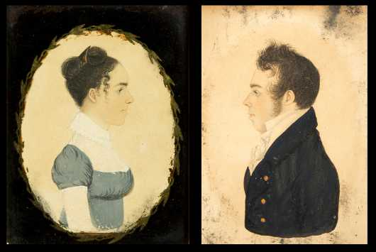 Rufus Porter Attributed Pair of Portraits