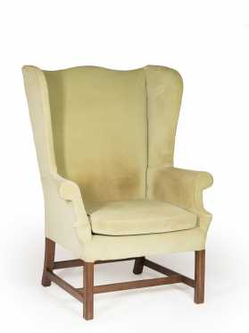 New England Mahogany Chippendale Wing Chair