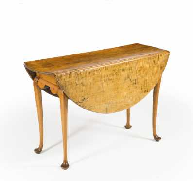 Queen Anne Tiger Maple Drop Leaf Table