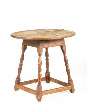 Oval Top Four Way Splayed Stretcher Base Tea Table