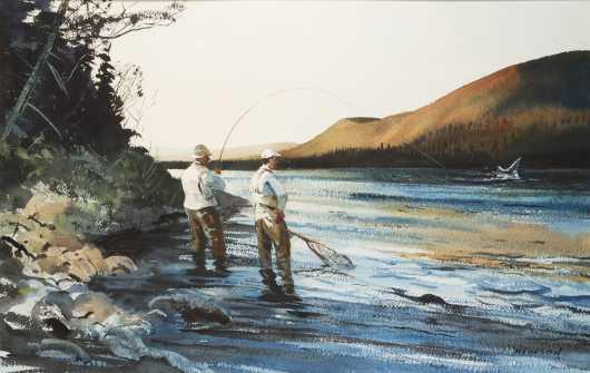 Chet Reneson Watercolor of Salmon Fishing