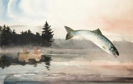 Chet Reneson Watercolor of Lake Trout
