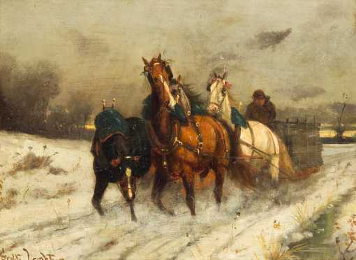 Scott Leighton, Oil Painting of Four Horses Pulling a Sleigh
