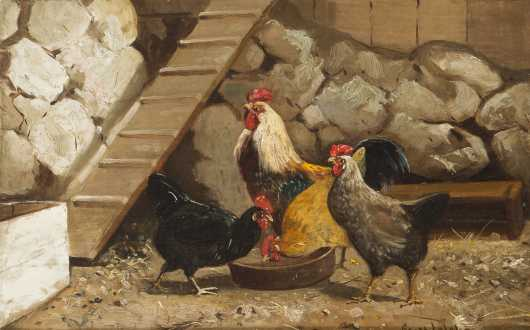 Scott Leighton, Oil on Canvas of a Rooster and his Hens