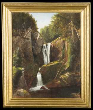 Harrison Bird Brown, Oil on Canvas Painting of a Two Tiered Waterfall