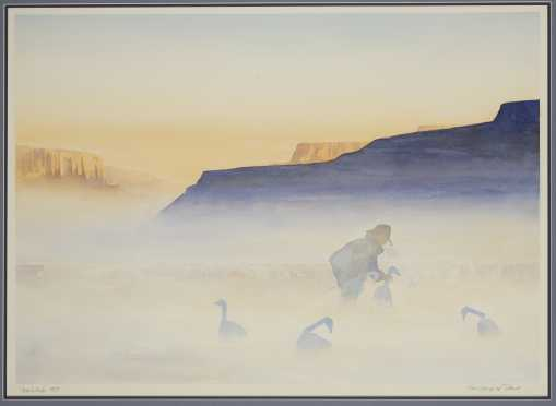 "Bob White, Minn./Alaska (20thC) Watercolor Painting ""The Ghosts of Dawn"""