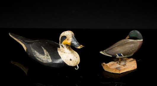 Two Decoys, A) Miniature Old Squaw Drake, Maker unknown