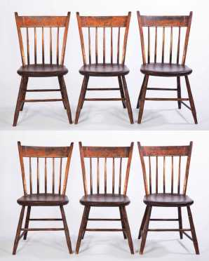 "Set of Six Branded ""J.P. Wilder"" Painted Thumback Chairs"