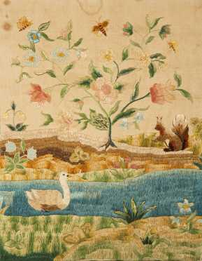Folky Silk Thread Needlework Panel