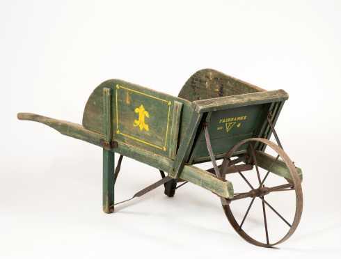 Paint Decorated Wooden Wheelbarrow