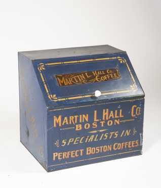 """Martin L. Hall Co. Boston"" Country Store Tin Countertop Dispenser"
