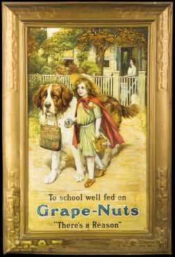 "Lithographed ""Grape Nuts"" Tin Trade Sign"