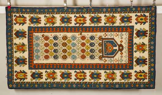 American Hooked Rug- Oriental Prayer Rug Design