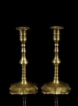 Pair of Brass Queen Anne Candlesticks