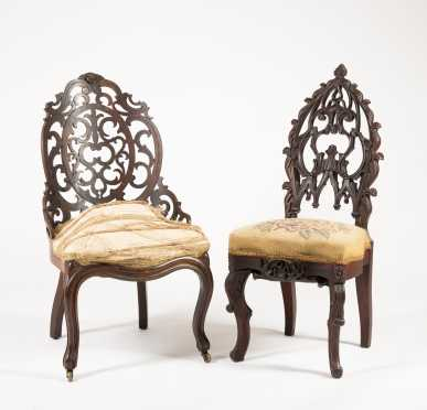 Two Victorian Pierce Carved Side Chairs